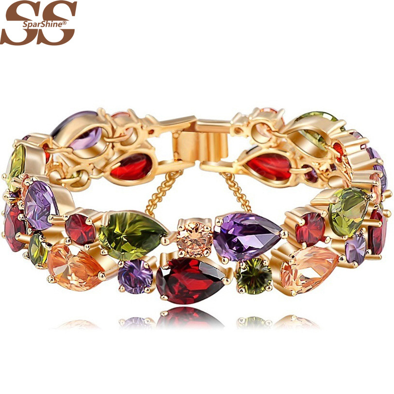 SparShine Bracelets & Bangles 2015 New Design Colorful AAA Zircon Bracelet 18K Rose Gold Plate Women Bracelet Fashion Jewelry(China (Mainland))