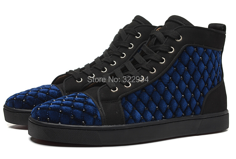 Royal blue lace up men sneakers high top red bottom men flat shoes ...