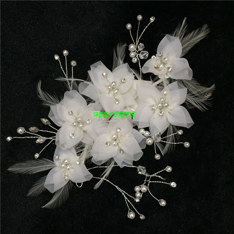 Free mail white flower head to marry the bride headdress flower feather flower bride's hair(China (Mainland))