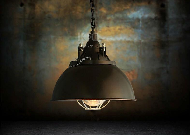 Luxury Vintage Pendant Lamp Light Iron Metal Black Lid E27 For Bar Coffee Loft Clothing Study Store Single Parlour Chain(China (Mainland))