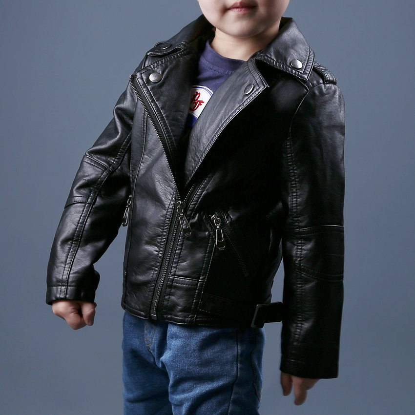 2015 Hot Fashion Autumn Winter Boys Motorcycle Faux Leather Jackets Kids PU Outerwear Warm Coats(China (Mainland))