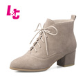 L&T Autumn/winter women ankle boots genuine leather calzado mujer lace-up pointed toe biker boots Luxury Pearl ladies shoes