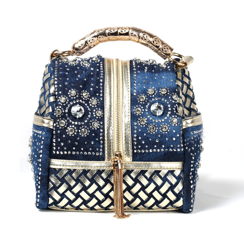 Women handbag denim+PU leather tote bag diamante female single shoulder bags lady bolsa feminina bolso mujer 2015 MAGIC 361 - Happy resources store