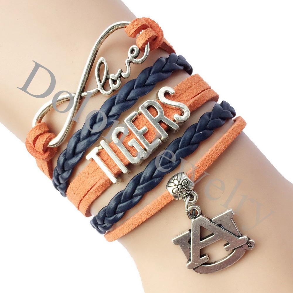 Drop Shipping Infinity Love Auburn Tigers Athletic Team Bracelet Handmade Braid Leather Sude NCAA Football Bracelet Customized(China (Mainland))