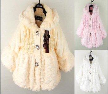 1 piece retail baby girls winter fur coat overcoats kids princess warm fleece outfit coats tops white pink yellow free shipping