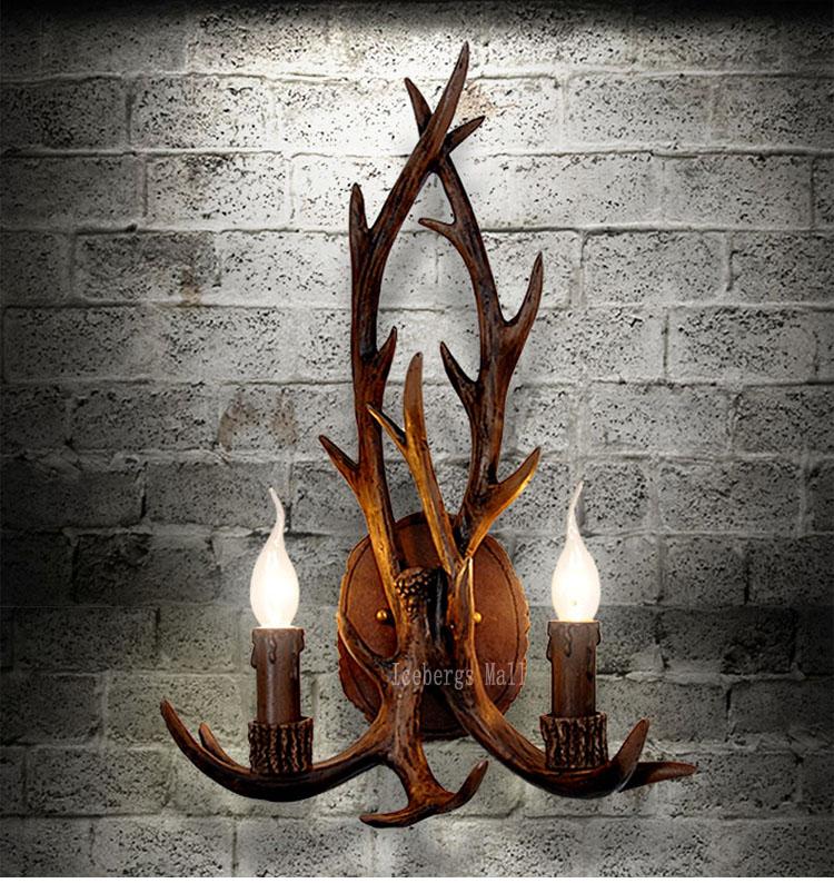 art deco retro resin antler wall lamp american country wall light deer. Black Bedroom Furniture Sets. Home Design Ideas