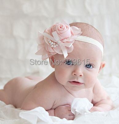 1PCS Retail Rose Pearl Flower Hair Accessories Baby Girls Headwear Infant Children Baby Hair Headband 12Colors DGM88(China (Mainland))
