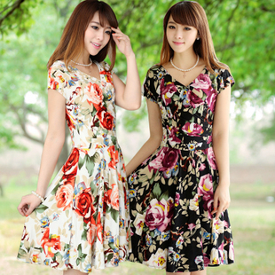 2013 Summer Women's Dress  V-Neck Milk Silk Floral Beach Dress Sundress 24 colors Free Shipping