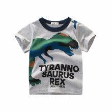 Anak Laki-laki dan Perempuan Kartun T-shirt Anak-anak Dinosaurus Cetak T Shirt untuk Anak Laki-laki Anak-anak Musim Panas Lengan Pendek T-shirt Katun Atasan Pakaian(China)