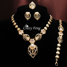 Free shipping Trendy Women's 18k Gold Plated Austrian Crystal Jewelry Sets Gifts Necklace+Bracelet+Earrings+Ring(China (Mainland))