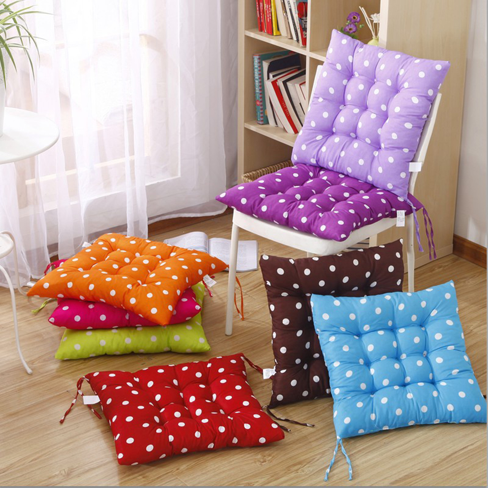 Hot Sale 40*40cm Polka Dots Cushion Pad Seat Chair Mat With Cord For Patio