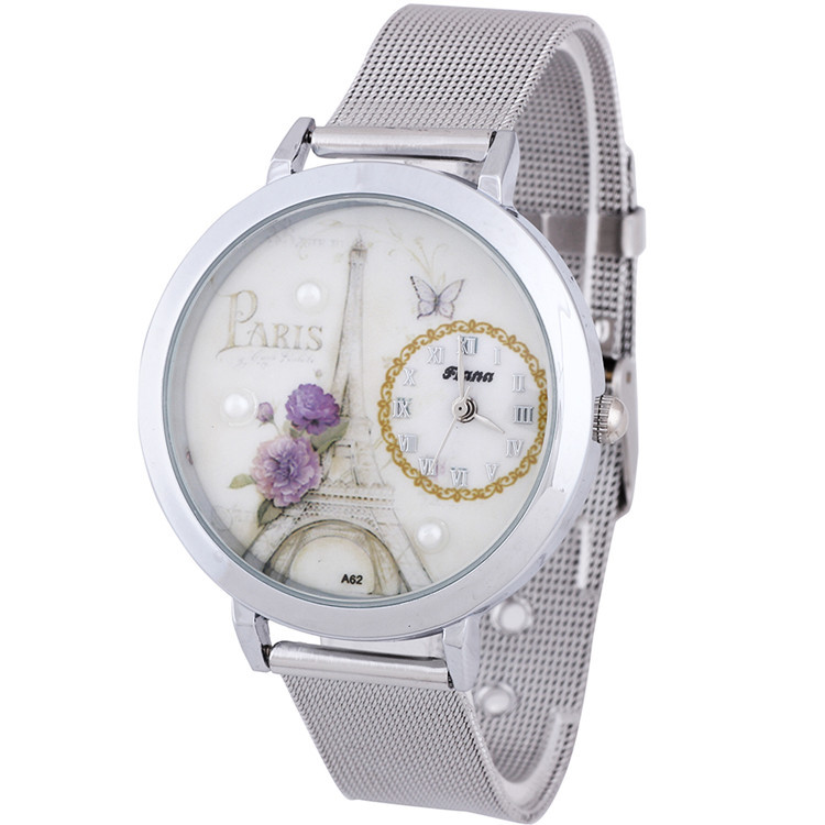 Гаджет  New Fashion Women Round Dial Stainless Steel Mesh Paris Eiffel Tower Gift Butterfly Quartz Wrist Watch Free Shipping None Часы