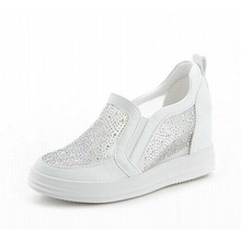 2016 new women wedges height increasing high heel sandals fashion rhinestone slip-on loafers breathable mesh summer casual shoes