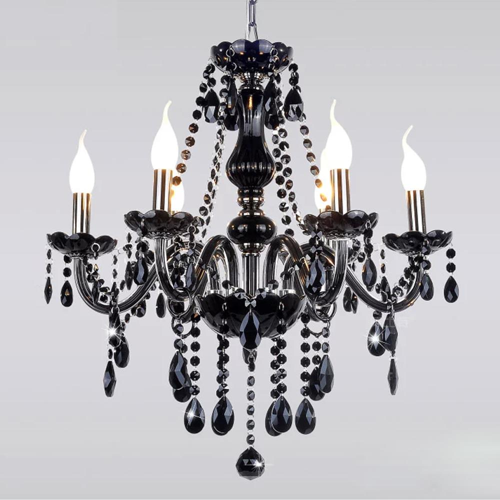 Black modern crystal chandelier e14 candle holder novelty classic luxury chandelier wedding - Lights and chandeliers ...