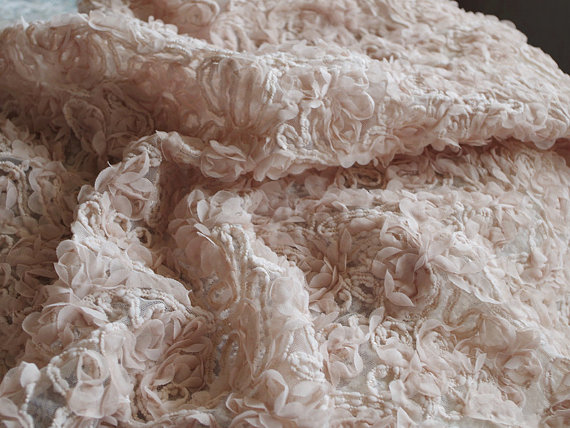 Nude Chiffon Rosette Fabrics, Baby Photography Backdrop, Prop, Blanket, Wedding Dress, Bridal Gown Fabric, Wedding Deocrs, MF033