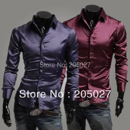 2015 NEW spring autumn men shirts faux silk shiny casual mens Dress Stylish fashion Shirts slim long-sleeve - Yiwu Fashion Commodity Supermarket Retail Dropship store