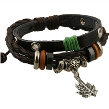 3 Layer Steampunk Vintage Metal Leave Pendant Charm Bracelets for Women Men Hand Woven Black Cow Leather Strap Couple Bracelet