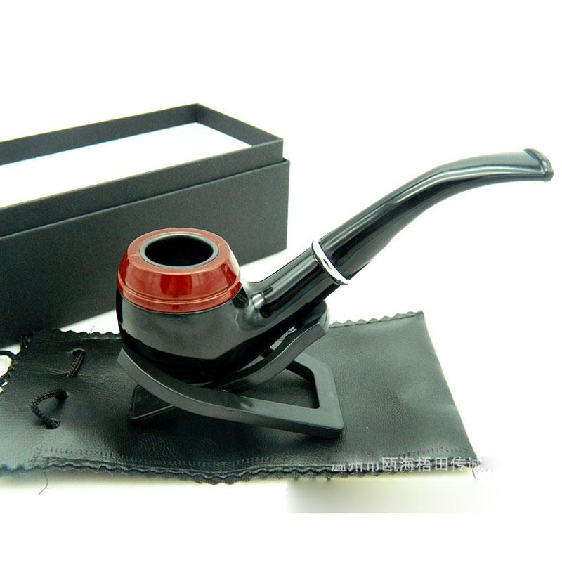 Fashion durable wood tobacco pipe Snakeskin style Resin Smoking cigar tube herb snuff black box Long Wood Pipe Rack Gift(China (Mainland))