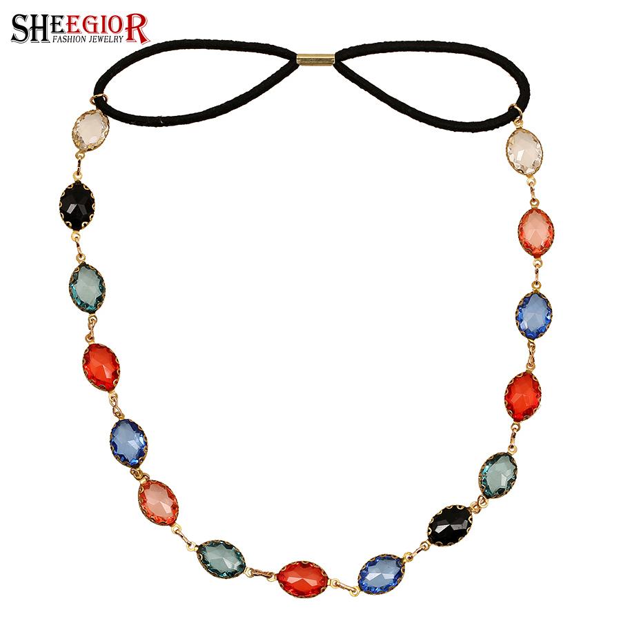 Punk colorful headdress Fashion brand rhinestone chain head jewelry for hair elegant oval stones headbands women hairbands(China (Mainland))