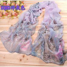 2016 New Women Chiffon Floral Printed Designer Scarf Summer Beach Gradient Plaid Flower Casual Silk Scarves Long Wrap Pashmina(China (Mainland))