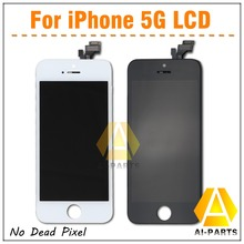 Quality A+ display ,10pcs/lot, LCD Screen For iPhone 5 5G , No Dead Pixel Digitizer , White/Black(China (Mainland))