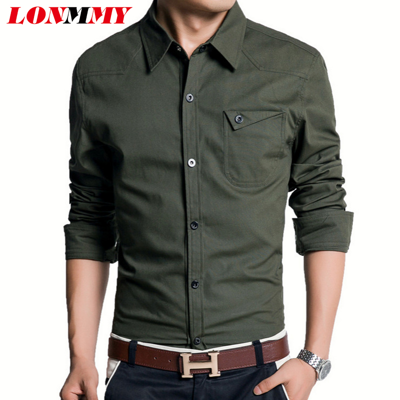 LONMMY Mens dress shirts men clothes New 2016 fashion casual long sleeve shirt Cotton Slim army military style epaulettes - store
