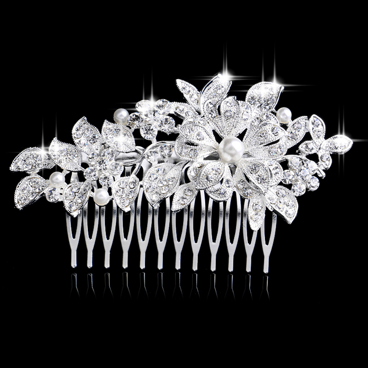 Gorgeous Decoration Tiara CZ Rhinestone Silver Plated Simulated Pearl Paved Flower Hair Comb Accessary - Blue Stone Jewelry store