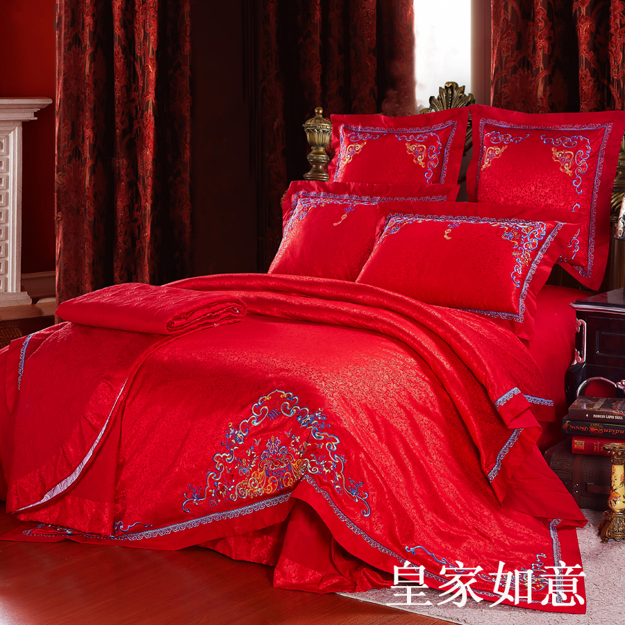 Wedding bed sheet set -  Traditional Chinese Wedding Bed Set Bed Sheet King Size Bedding Queen Bed Bed Linen Cotton Duvet