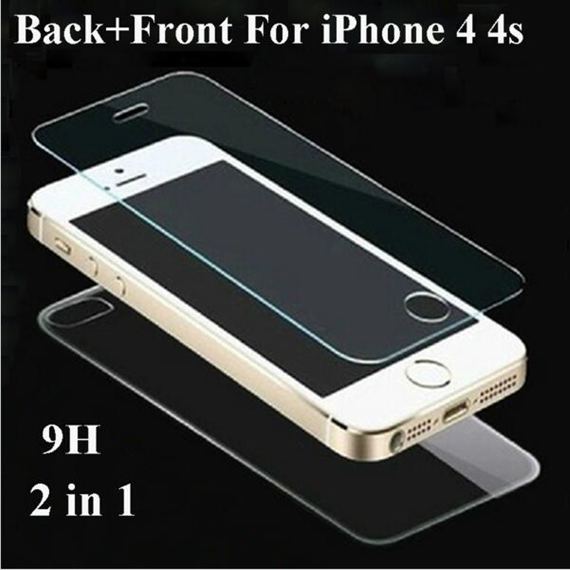 2pcs/lot Front+Back Genuine 0.3mm 2.5D HD Ultra Thin 4S Tempered Glass Film Screen Protector for iPhone 4 4G 4S iPhone4(China (Mainland))