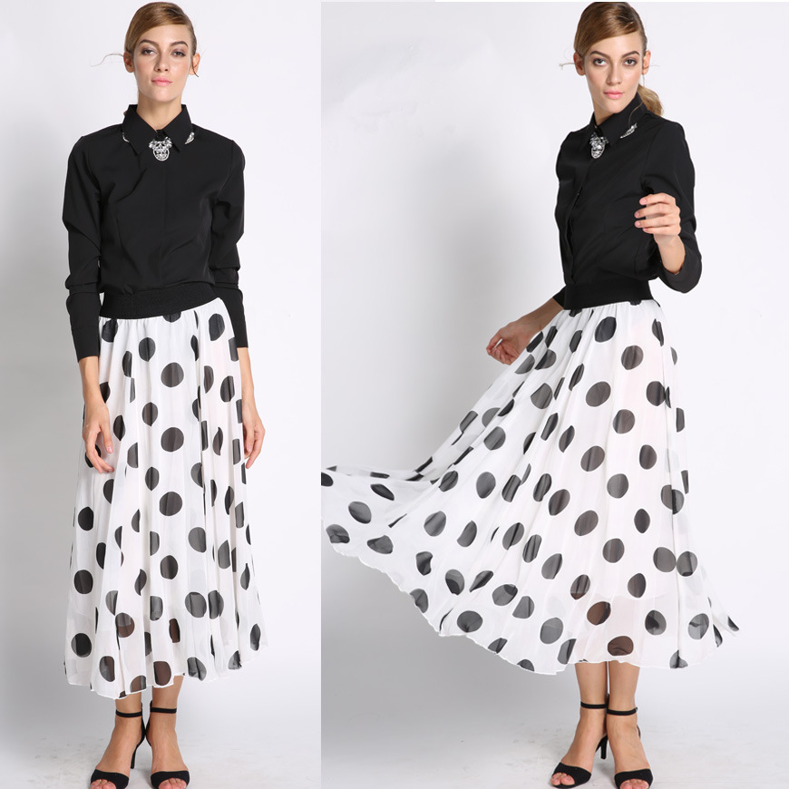 New 2015 Fashion Korean Style Summer High Waist Vintage Wave Point Long Women Skirt New Arrival