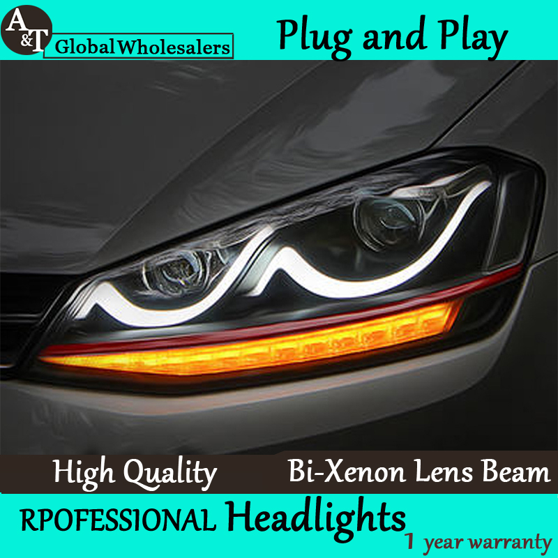 A&T Car Styling for VW Golf7 Headlights Golf 7 LED Headlight Smile DRL Lens Double Beam H7 HID Xenon Car Accessories(China (Mainland))