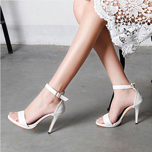 2015 Summer Pumps high-heeled shoes fashion open toe black/white Buckle Straps women's woman skin sandals size 35-39 - Tina's Shoes store