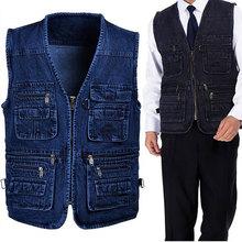 Free Shipping 80% OFF SALE MEN'S Autunm casual Cotton Denim Vest coat for men jacket Multi Pocket Mens vest Blue XL- 5XL MTS151(China (Mainland))