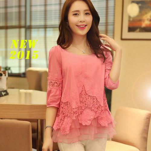 Vintage Embroidery Print Flowers Blusas Feminina 2014 Casual Women Patchwork Pink Red Peplum Blouses Shirts Clothing Roupas(China (Mainland))