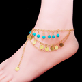 Boho Ethnic Multilayer Blue Beads Metal Sequins Tassel Anklet Adjustable Barefoot Sandals Ankle Bracelet Foot Jewelry
