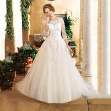 Sexy Lace Wedding Dress Plus Size With Sleeves Boat Neck A Line Ivory Bridal Gowns 2016 Vestido De Novia Casamento Robe Mariage(China (Mainland))