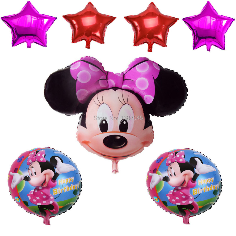 7Pcs/lot Minnie Mouse Theme Party Decoration Balloons 1 Year Birthday Foil Balloon Birthday Minnie Globos Party<br><br>Aliexpress