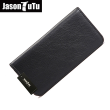 JASON TUTU Brand Mon Men Wallet Genuine Leather Mens Wallet blanc soft natural leather long wallets purse ship with box HN82(China (Mainland))