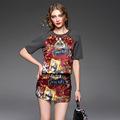 European New Fashion Skirt Suits 2016 Autumn Women Runway Print Tops TShirt Pocket Patchwork Bodycon Mini