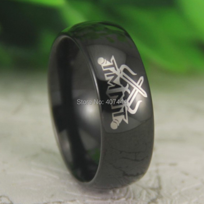 Free Shipping USA UK Canada Russia Brazil 8MM Comfort Fit TMNT Ninja Turtles Black Dome Super Men's New Tungsten Wedding Ring(China (Mainland))