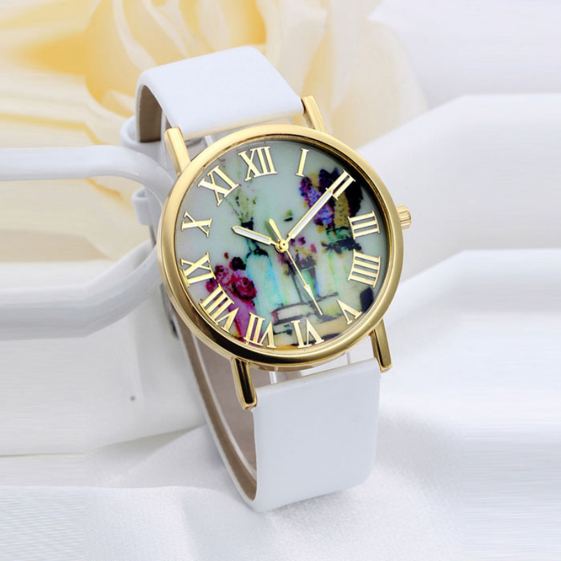 Excellent Quality Women s Quartz Watches Vases Dial Leather Band Quartz Analog Wrist Watches Clock Relogio