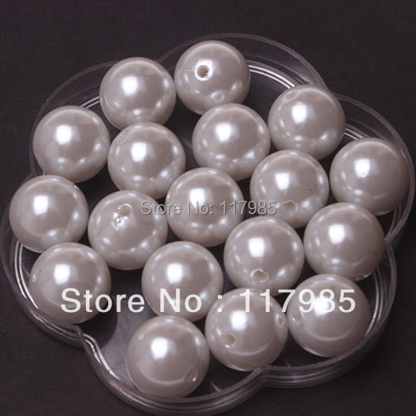 Free shipping newest Pearls,115pcs/lot,20mm,A63,White color ,,chunky acrylic pearl beads(China (Mainland))