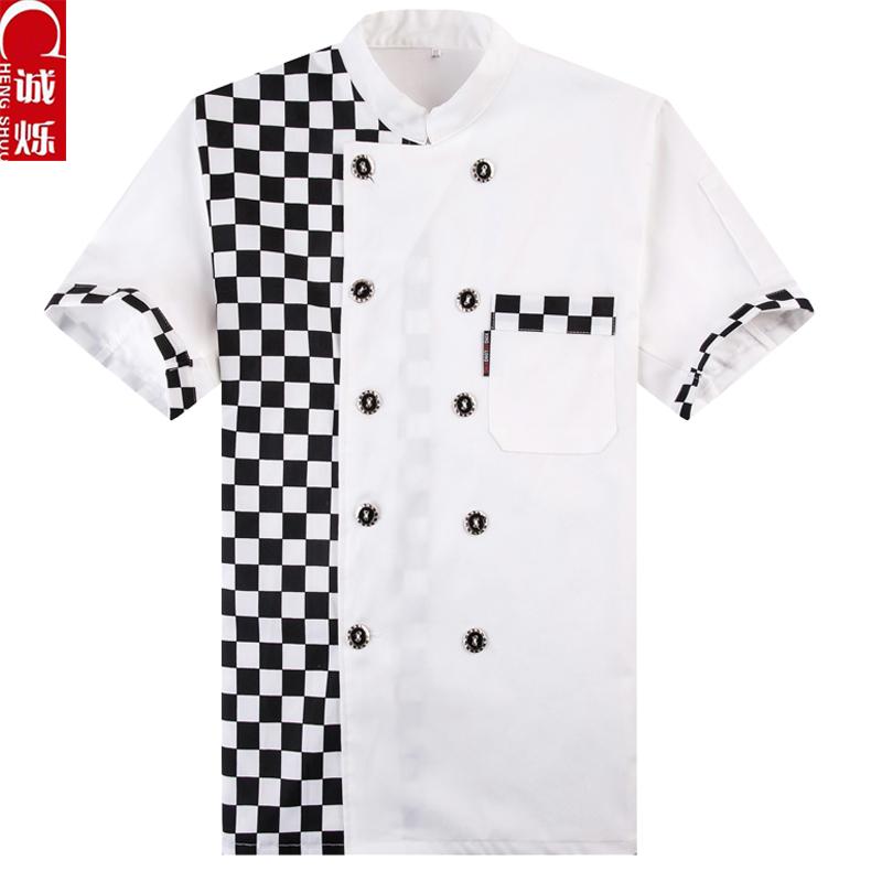 20pcs Cook suit short-sleeve summer work wear double black button chefs uniform quality cook suit chef shirt chefs uniforms(China (Mainland))