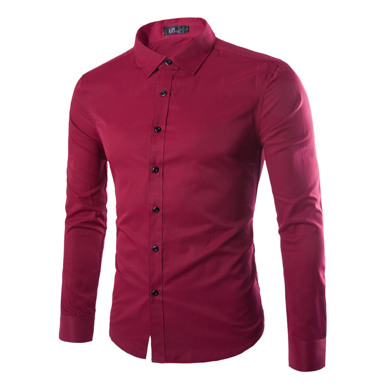 9 color mens dress slim fit shirts long sleeve solid