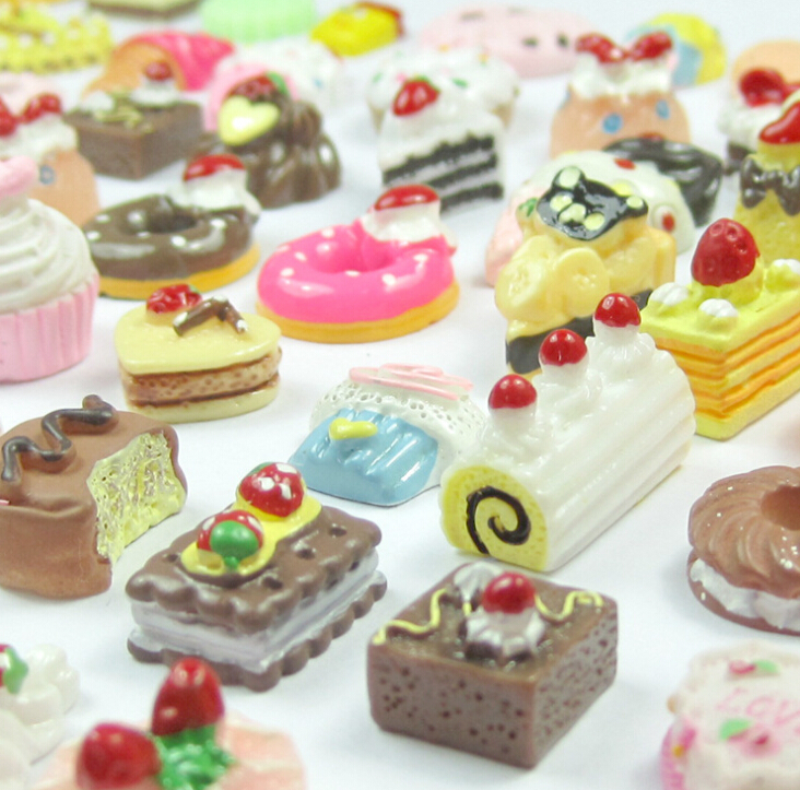 Resin snacks biscuit cake food hamburgers donuts goody bag resin accessories(China (Mainland))