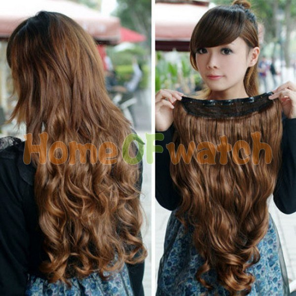 """3 color Free Shipping Fashion clip-in Hair Extension 24"""" Synthetic Long Curl Hairpiece Women's Accessories (NWG0HE60816)(China (Mainland))"""