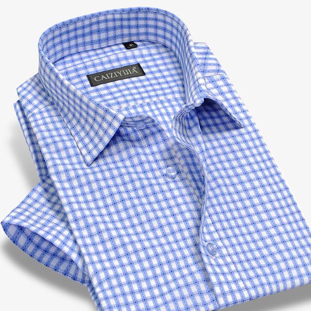 Бамбук клетчатую рубашку мужчин с коротким рукавом платье марка мода деловых мужской ...