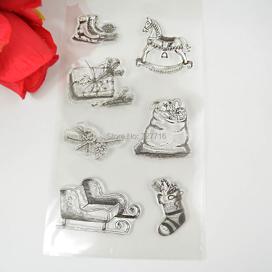 1PCS TPR silicon clear Stamp Christmas sery Stamp Sled Stocking Gift box DIY Scrapbooking/Card Making/ Decoration Supplies(China (Mainland))