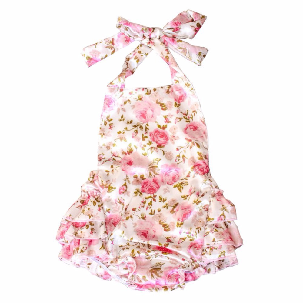 One Piece Romper Dress Baby Clothing Halter Pink Rose ...