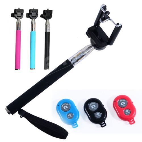 monopod extendable selfie stick bluetooth shutter for iphone samsung htc sony smart phones in. Black Bedroom Furniture Sets. Home Design Ideas